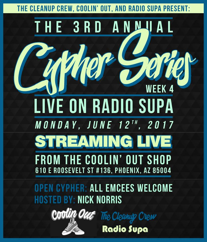 The 4th Cypher Series Tomorrow at The Coolin Out Shop
